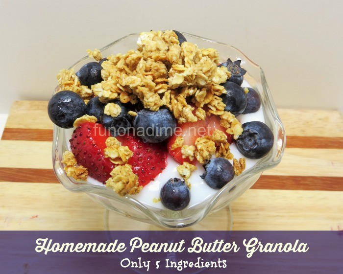 Homemade Peanut Butter Granola {Only 5 Ingredients}
