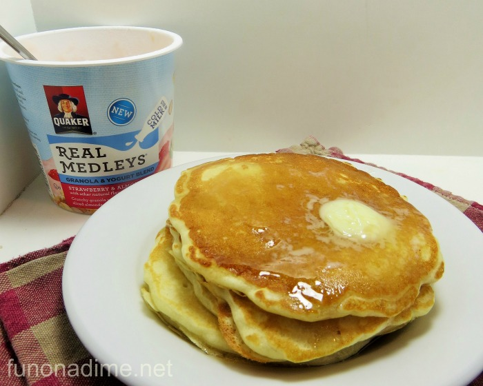 homemade pancakes with quaker real medleys