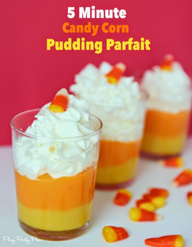 50+ Candy Corn Halloween Inspired Treats and Snacks - pudding parfait