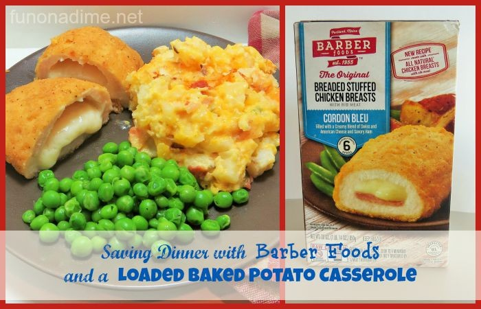 Saving Dinner with Barber Foods and a Loaded Baked Potato Casserole #SimplySpecialMeals #Ad Not your momma's potato casserole. Such a fun twist!