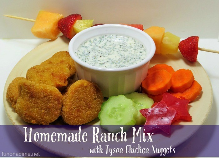 Homemade Ranch Mix with Tyson Chicken Nuggets #TysonMovieOffer AD
