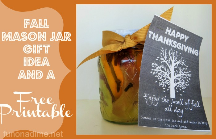 Fall Mason Jar Gift Idea and a Free Printable