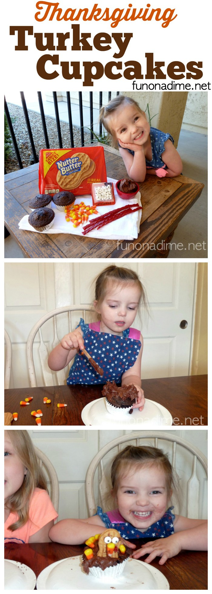 Thanksgiving Turkey Cupcakes - fun for all ages including toddlers