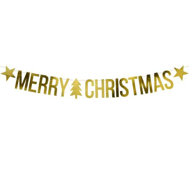 gold merry christmas banners