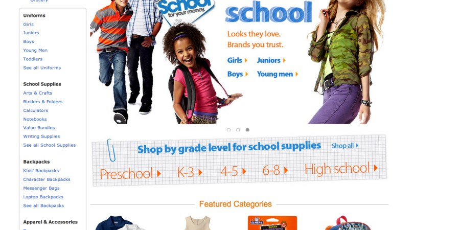 Walmart Back to School Home page