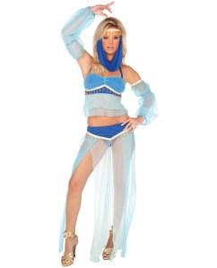 harem hottie dress, halter top, long skirt, arm sleeves & head piece blue