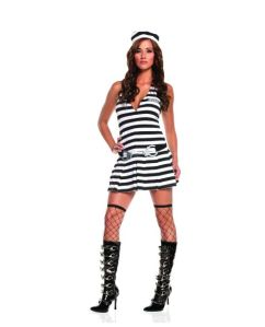 irresistible inmate dress, handcuff belt, & hat black/white medium