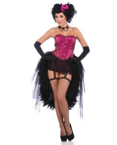 2 pc burlesque show lady carmen corset top & skirt black/hot pink /s