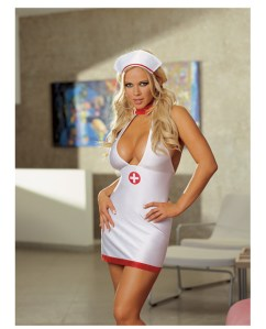 2 pc bedroom nurse stretch satin dress w/contrast accents & cap white qn