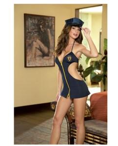 duty booty cut out side dress w/zipper front, hat & thong blue o/s