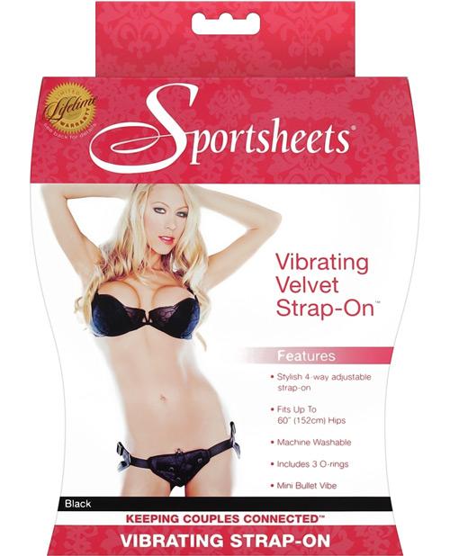 Sportsheets Vibrating Velvet Harness w/Bullet - Black