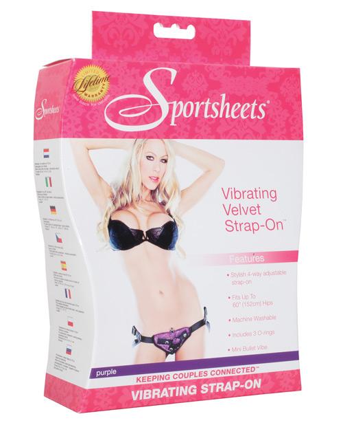 Sportsheets Vibrating Velvet Harness w/Bullet - Purple