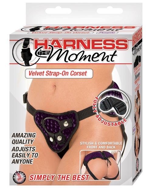 Harness the Moment Velvet Strap-On Corset - Purple