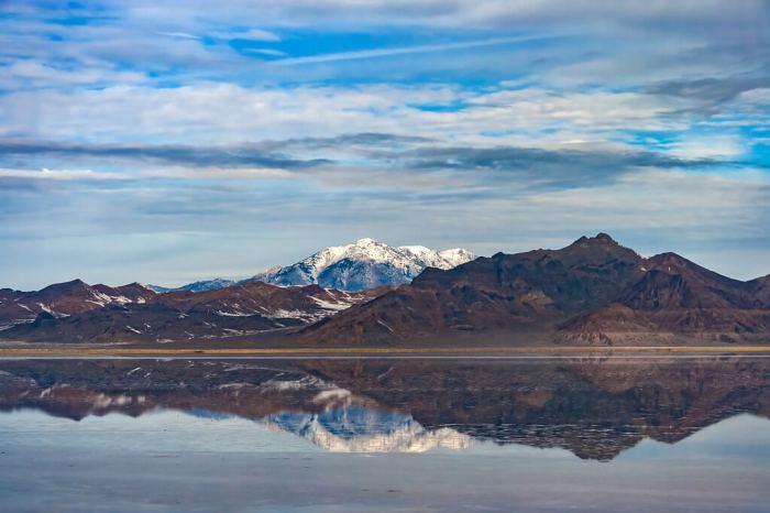 Landscape Mountains And Salt Flats Bonneville