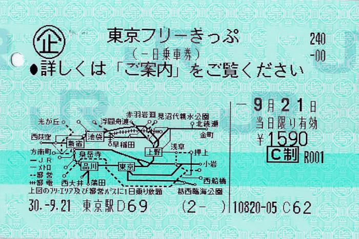 JR東日本_東京フリーきっぷ_本券