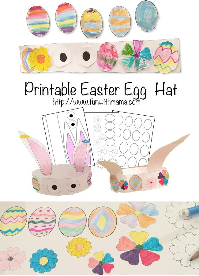 Here is a great Easter themed activity that is wonderful for Easter. This printable Egg and flower hat is a coloring page where kids can create their own customized eggs then glue them on to the easter Bunny hat. Toddlers love doing this too!