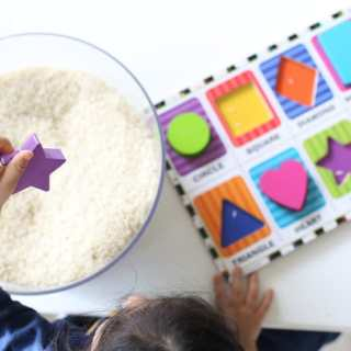 Easy Preschool Shapes Activity Hunt Sensory Bin