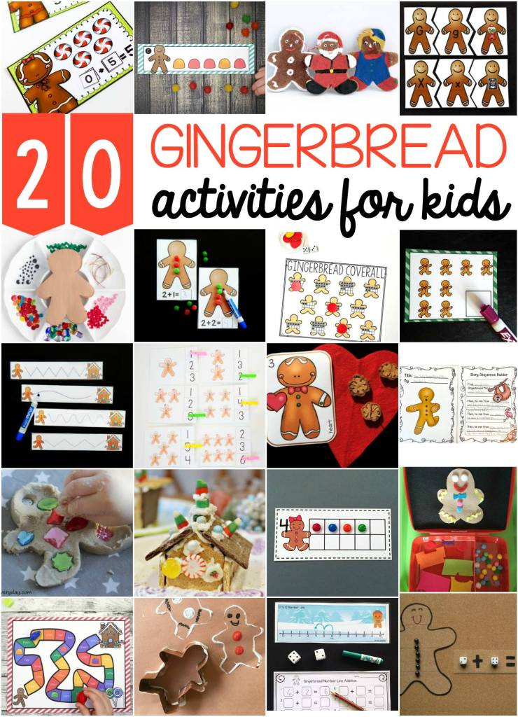 Check out these 20 Gingerbread activities for kids there are great activities that feature numbers, counting, one to one correspondence, tracing and fine motor skills and more!