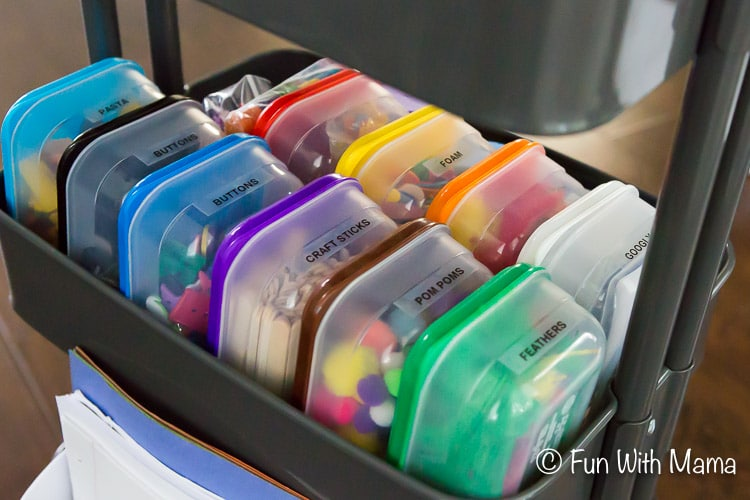 how to organize kids collage material