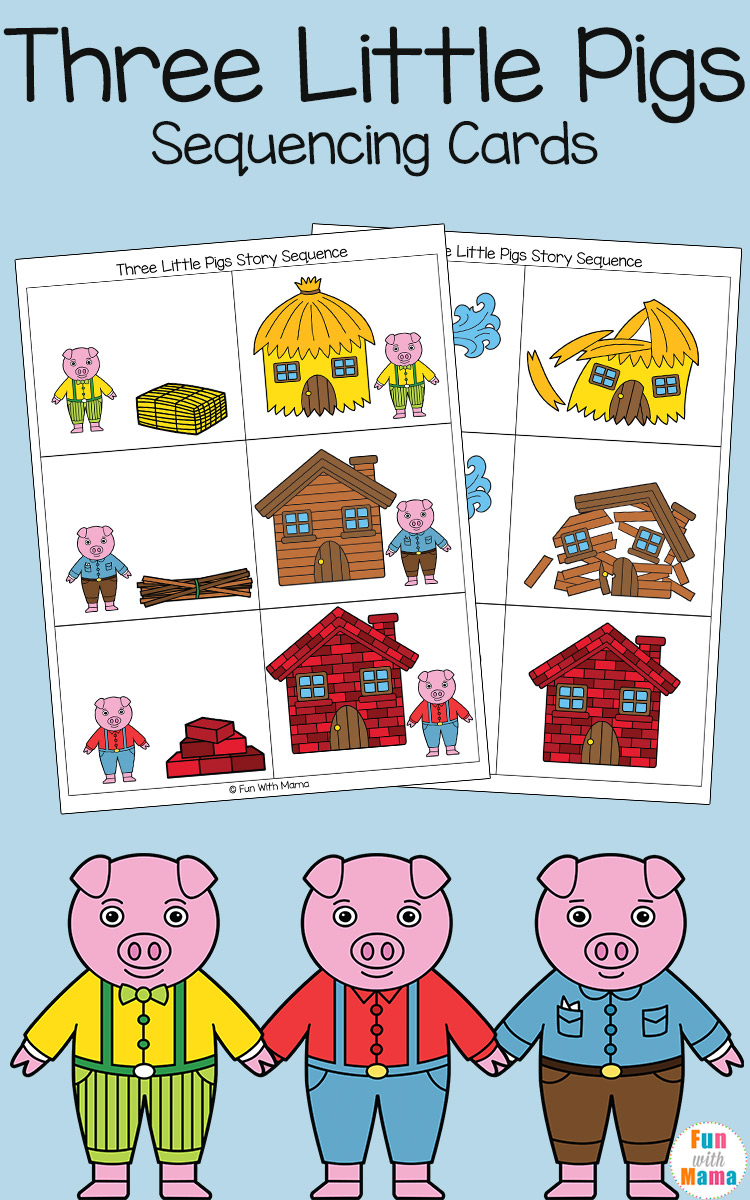 three little pigs story sequencing cards