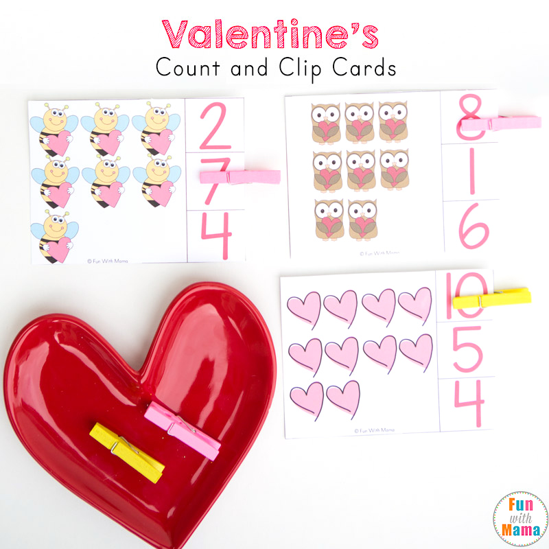 valentines preschool cound and clip cards