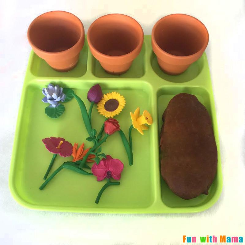 Preschool spring flower planting play dough activity fun for Preschool flower crafts templates