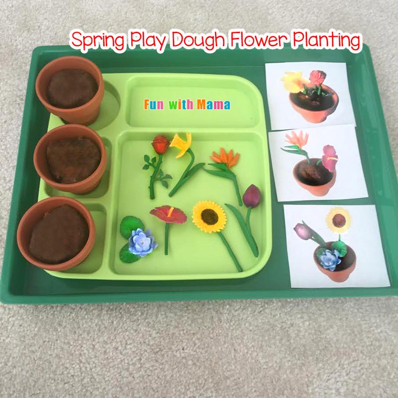 Preschool Spring Flower Planting Play Dough Activity Fun