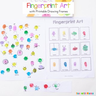 Fingerprint Art for Kids with Printable Drawing Frames