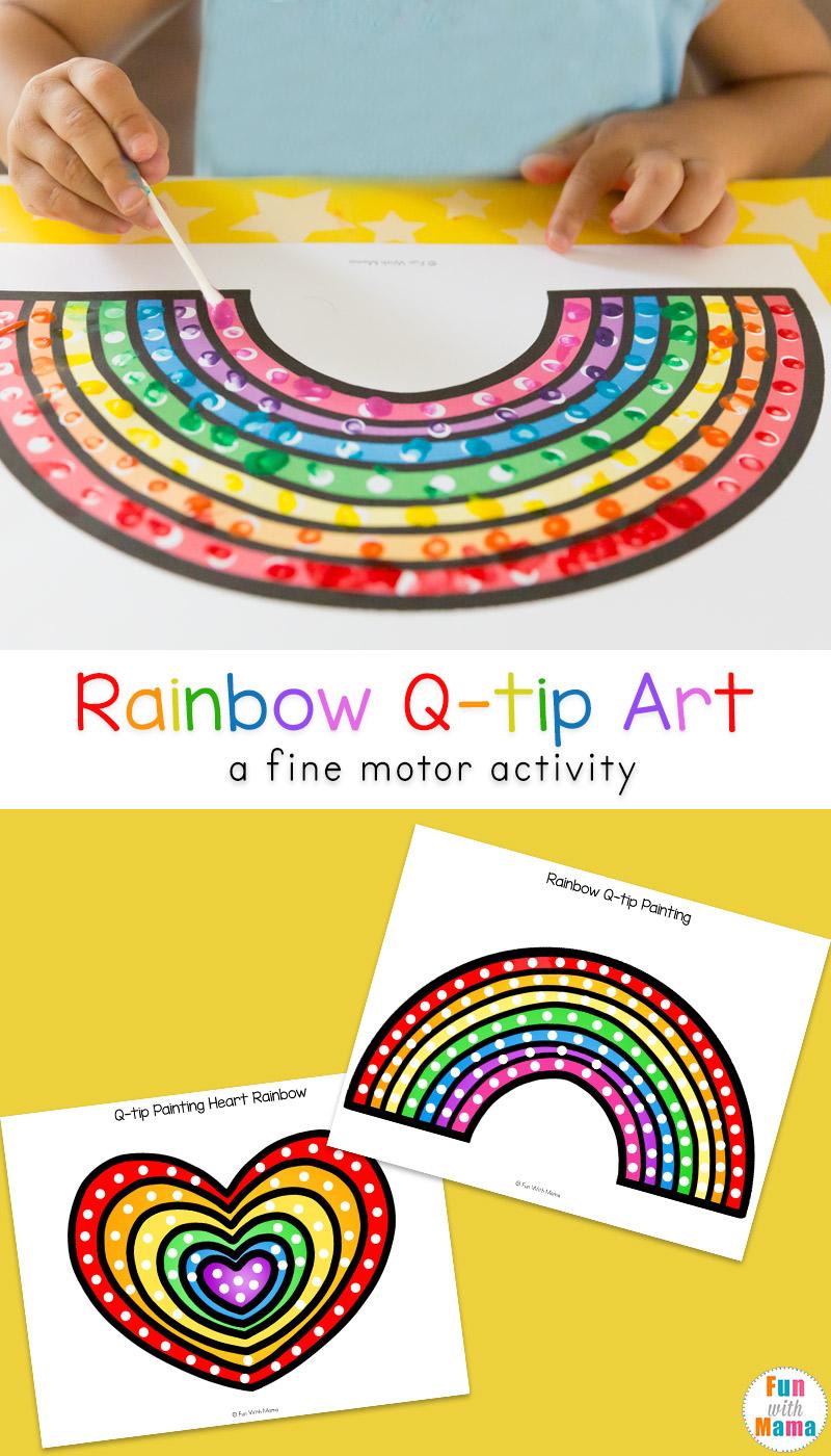 Fun q-tip cotton swab art free printable activities for preschool kids to work on fine motor skills and pincer grip.