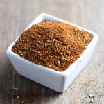 Small white square bowl filled with low FODMAP taco seasoning