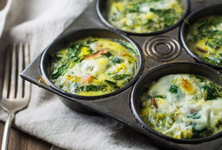These Low Fodmap Smoked Salmon and Spinach Frittata Cups are yummy fresh out of the oven or leftover for a grab and go breakfast!