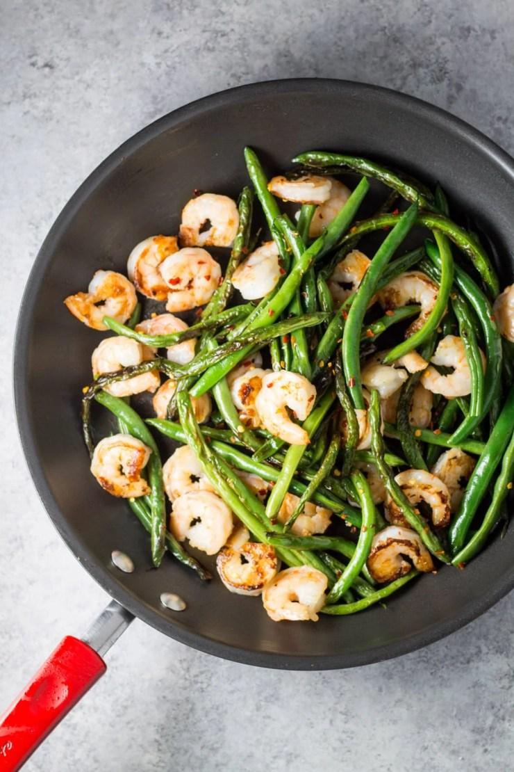Overhead shot of shrimp and green bean stir fry