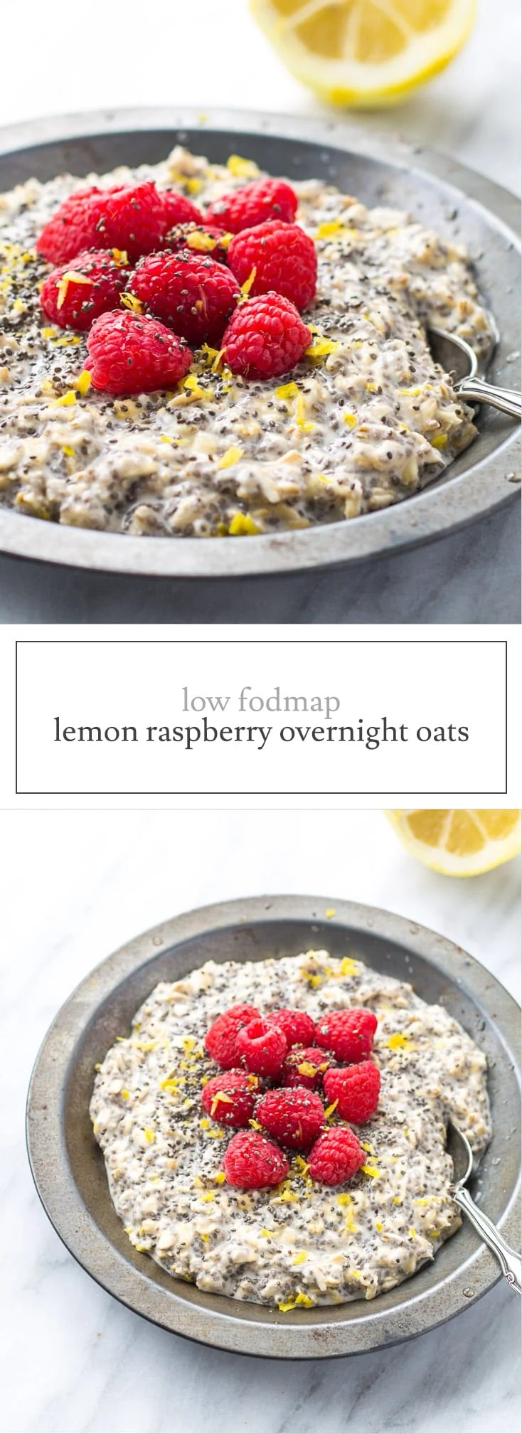 Spend five minutes at night whipping up this Low FODMAP Lemon Raspberry Overnight Oats recipe for a quick and easy breakfast that is light and refreshing!