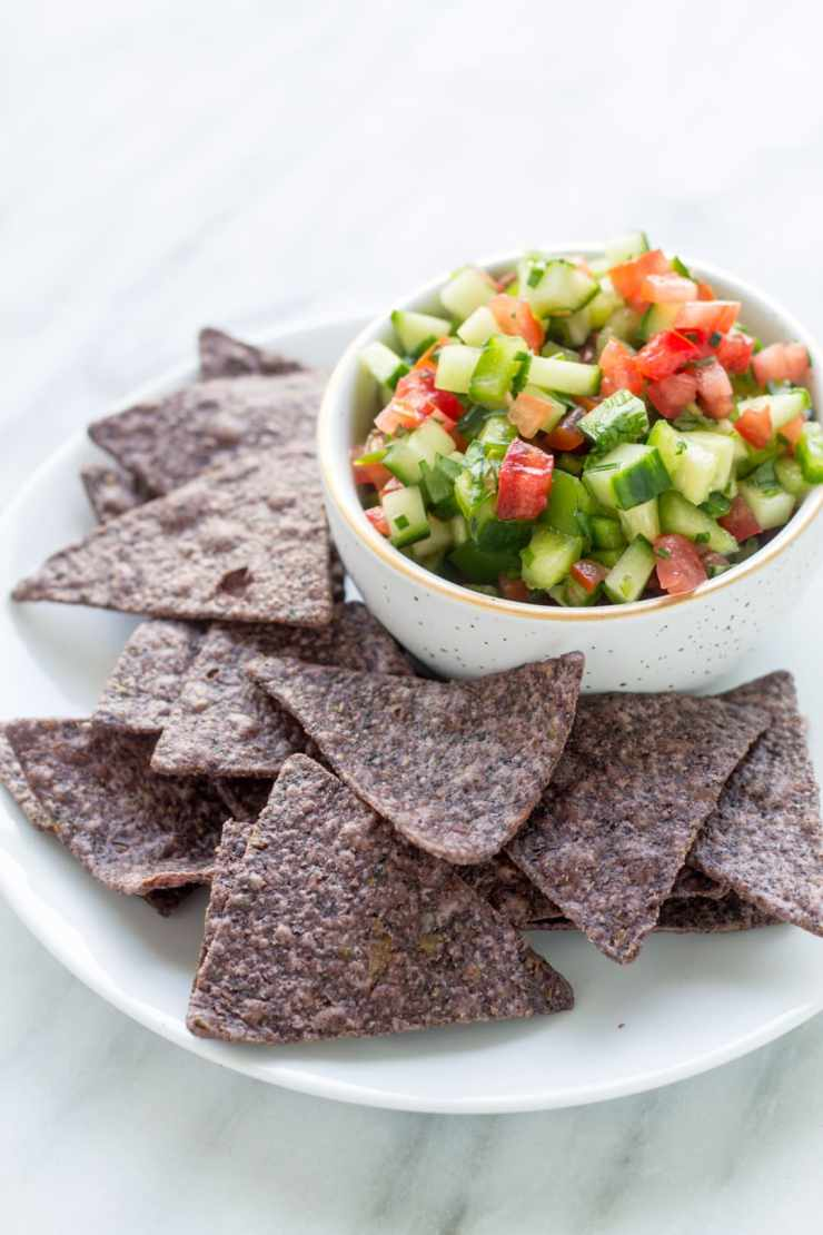 This Low Fodmap Salsa is delicious and refreshing - no fodmap-containing garlic or onion needed!