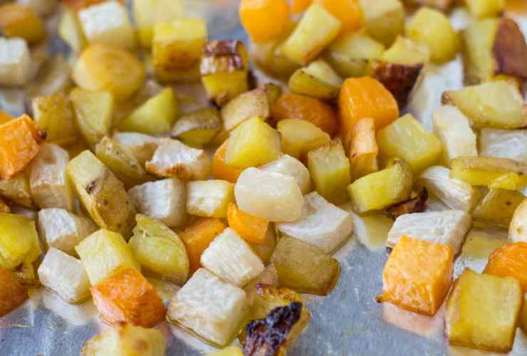 Slow cooked fall veggies make a scrumptious side dish in this Low Fodmap Roasted Root Veggies recipe.