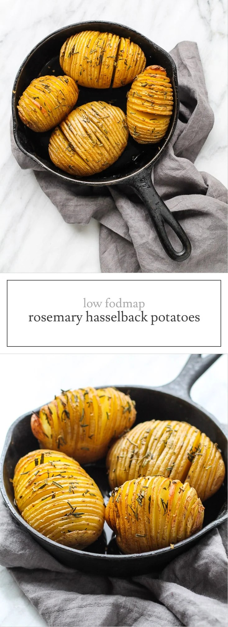 These Low FODMAP Hasselback Potatoes with Rosemary are a fancy-looking side dish perfect for a holiday party or date night.