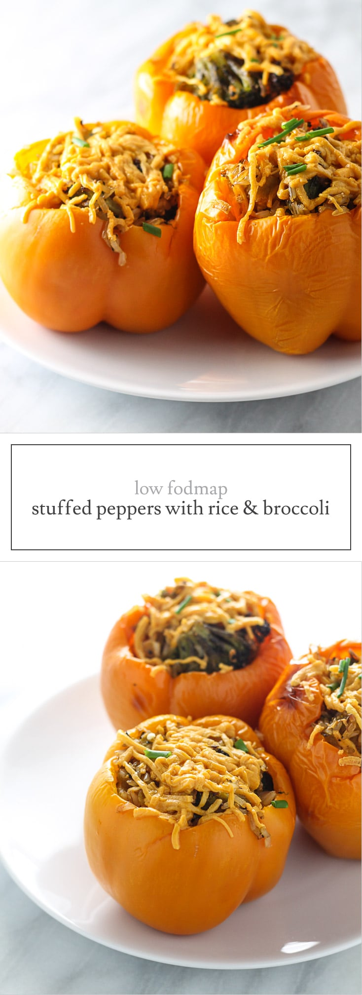 Low FODMAP Stuffed Peppers with Rice and Broccoli are a filling, vegetarian option. Choose red bell peppers if you're on the low FODMAP elimination phase.