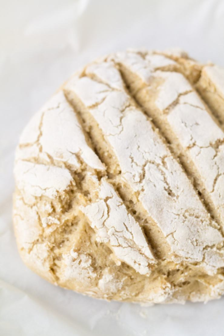 Fill your house with that yummy baked bread smell and enjoy this gluten-free Low FODMAP Crusty Bread warm out of the oven!