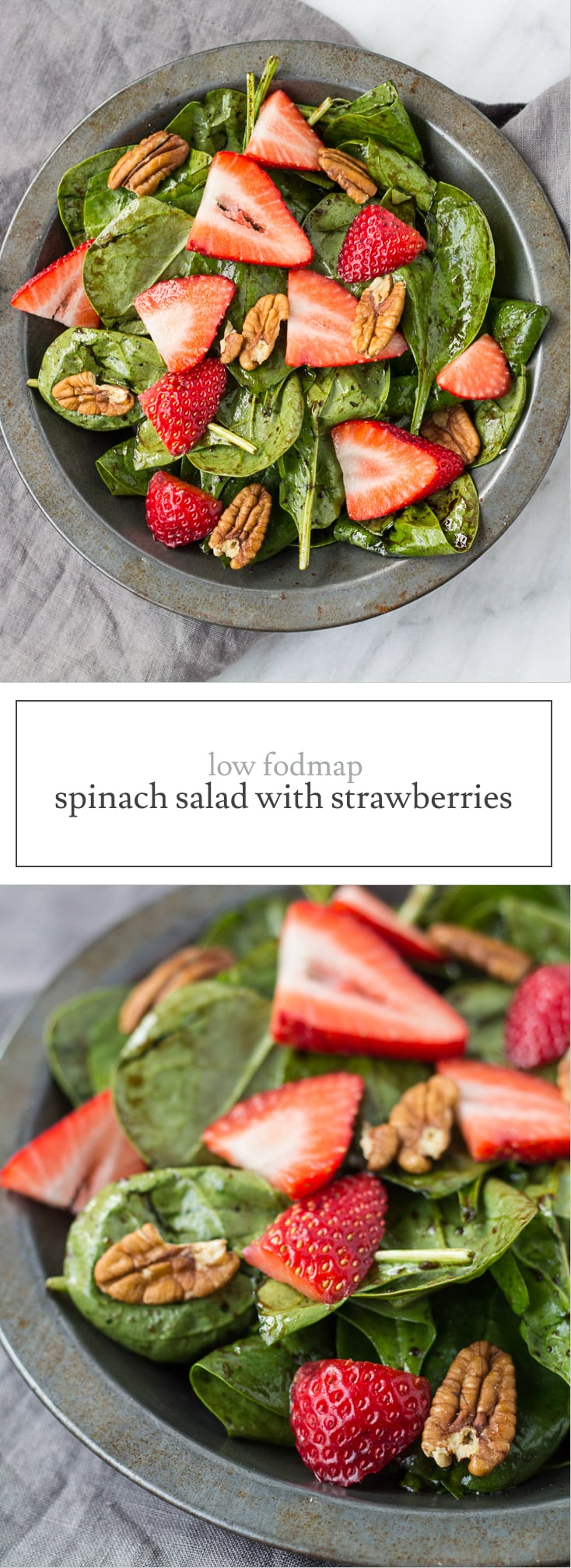 Low FODMAP Spinach Salad with Strawberries features a balsamic vinaigrette, crunchy pecans, and optional feta cheese.