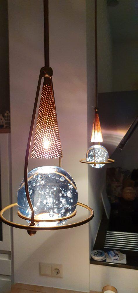 Hanglamp metaal/kristal