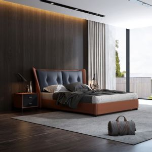 china high end modern luxury home furniture upholstered design leather bed factory and supplier-furbyme