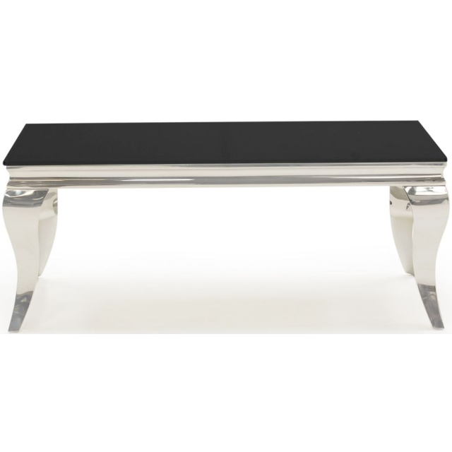 bolero black glass and chrome coffee table