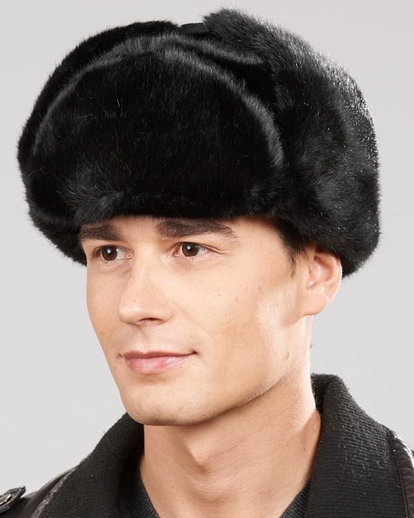 5f5a630b2e97d ... Black Faux Fur Russian Ushanka Hat Men ...