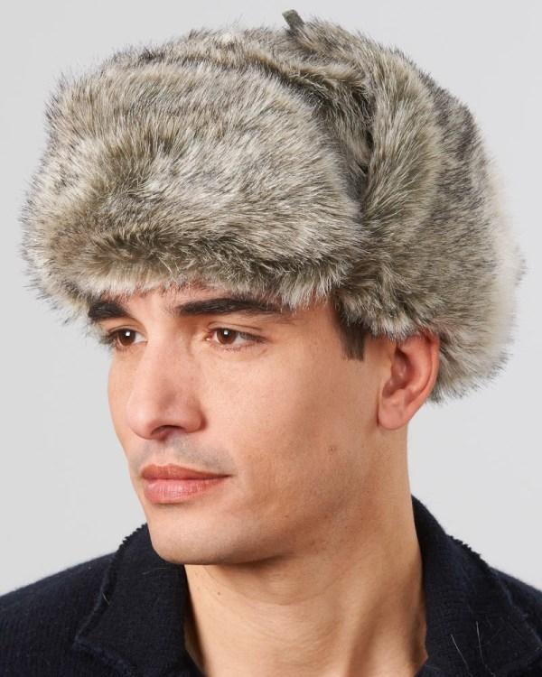 0364f0ac38b55 ... Grey Faux Fur Russian Ushanka Hat Men ...