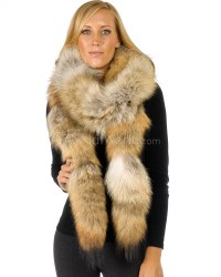 Sierra Long Natural Coyote Fur Boa Scarf: FurHatWorld.com