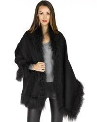 Serenity Black Mongolian Lamb Fur Blanket Shawl ...