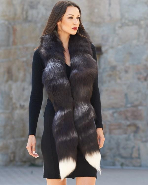 Silver Fox Fur Boa Scarf