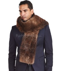 Thomas Beaver Fur and Cashmere Scarf For Men: FurHatWorld
