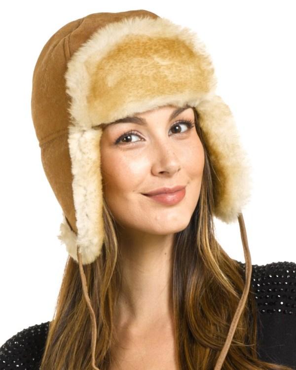 Women' Alaska Shearling Sheepskin Trapper Hat In Tan