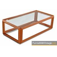 Danish modern teak and glass coffee table